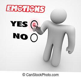 illustration, choix, personne, expériences, émotions, choisir, sentiments, 3d