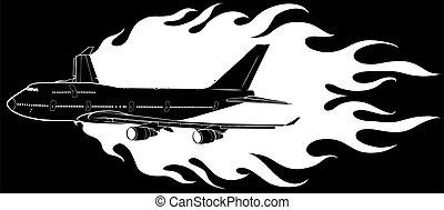 illustration, civil, vecteur, flammes, avion