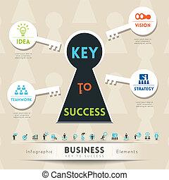 illustration, clã©, business, reussite