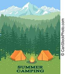 illustration., clairière, vecteur, camper tente, touriste, forêt