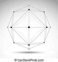 illustration, cle, résumé, wireframe, objet, vecteur, géométrique, 3d