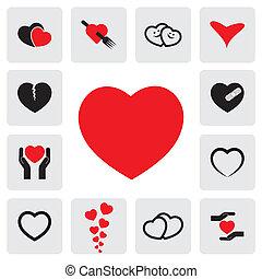 illustration, coeur, happiness-, vecteur, platonic, &, ceci, amour, résumé, concepts, fin, santé, guérison, protection, heart's, représente, icons(signs), passion, graphic., prévention, guérison