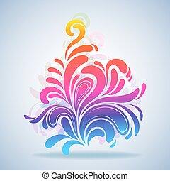illustration., coloré, éclaboussure, résumé, élément, vecteur, conception