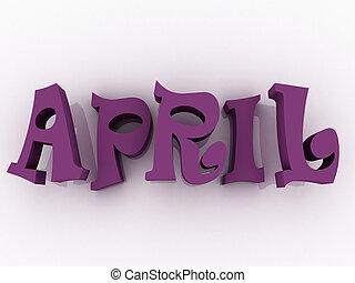 illustration., colour., signe, avril, papier, 3d