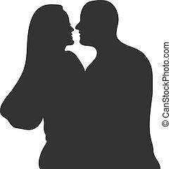 illustration., concept, amour, silhuette, vecteur, main, isolé, valentines, noir, jour, baisers, couple., dessiné