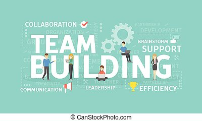illustration., concept, bâtiment équipe