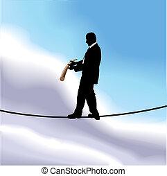illustration, concept, business, corde raide