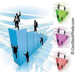 illustration, concept, business, grimpeur