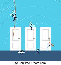 illustration, concept, reussite, business, portes