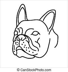 illustration, conception, art, vecteur, ligne, design., bouledogue, animal, agrafe, icône, style.