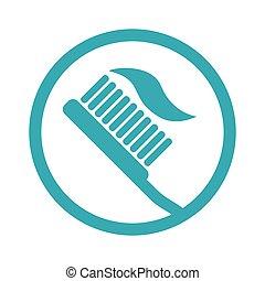 illustration, conception, isolé, dentifrice, brosse dents, vecteur, icône
