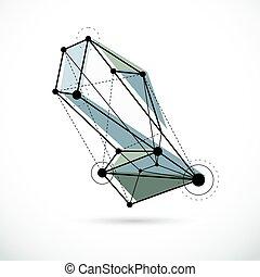 illustration., constitué, résumé, wireframe, objet, vecteur, géométrique, technologie, 3d
