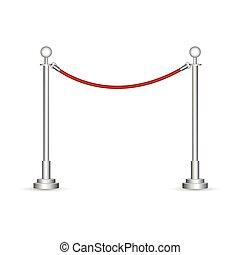illustration, corde, barrière, blanc, isolé, fond, vecteur