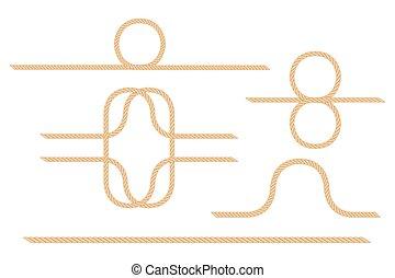 illustration, corde, blanc, isolé, fond, vecteur, boucle