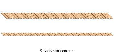 illustration, corde, blanc, isolé, fond, vecteur