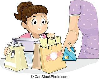 illustration, crédit, maman, girl, carte, gosse
