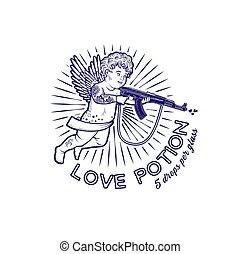 illustration., cupidon, vecteur, s, day., assaut, rifle., valentin