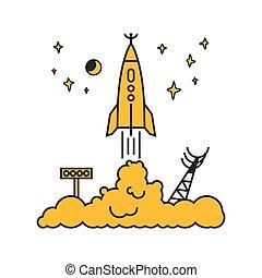 illustration, début, vecteur, nuages, fusée