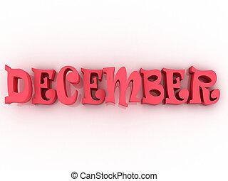 illustration., décembre, colour., signe, papier, 3d