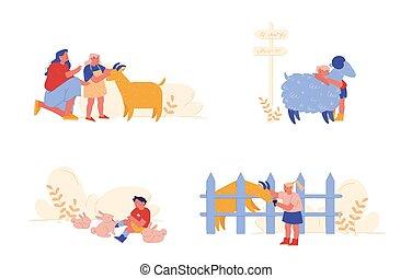 illustration, dépenser, mouton, agriculture, caractères, gosses, soin, parents., gens, girl, conjugal, peu, vecteur, animaux, lapins, dessin animé, enfants, garçon, goat., weekend., caresser, temps, mère, visite