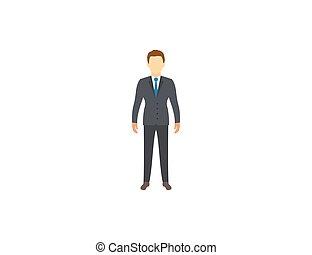 illustration., design., compagnie, plat, businessman., tête, vecteur