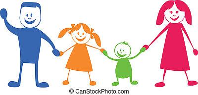 illustration, dessin animé, family., heureux