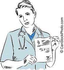 illustration, docteur, monde médical