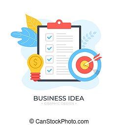 illustration, dollar, lumière, moderne, arrow., presse-papiers, plat, design., liste contrôle, cible, idea., vecteur, ampoule, signe, business