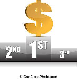 illustration, dollar, numérique, gagner