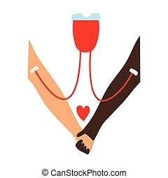 illustration, donateurs, transfusion sanguine, plat, destinataire, main, style., rouges, vecteur, coeur, dessin animé, signe., s