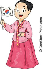 illustration, drapeau, déguisement, girl, coréen, gosse