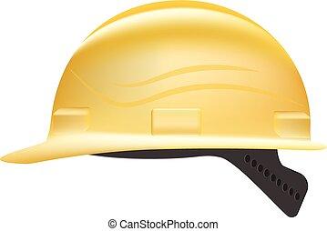 illustration., dur, isolé, jaune, arrière-plan., vecteur, sécurité, chapeau blanc