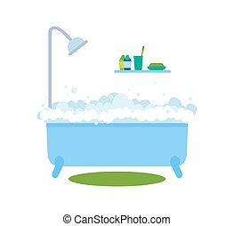illustration, eau bain, chaud, vecteur, bulles