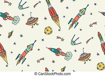 illustration., espace, spaceships., modèle, seamless, main, vecteur, fusées, dessiné