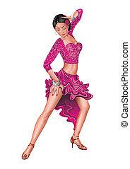 illustration, exécute, isolé, femme, danse latino