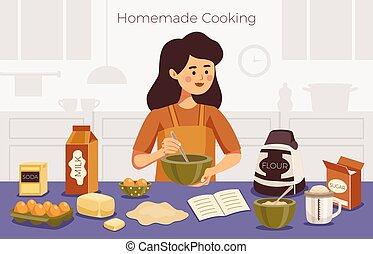 illustration, fait maison, vecteur, cuisine