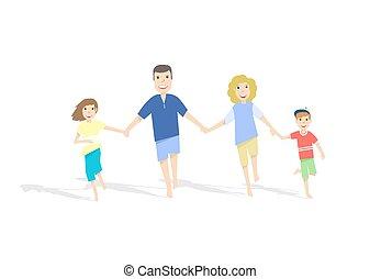 illustration., famille, arrière-plan., courant, vecteur, blanc