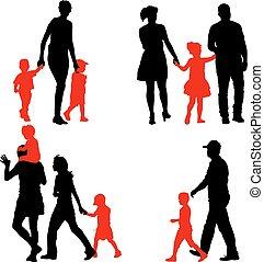 illustration., famille, arrière-plan., silhouettes, vecteur, blanc