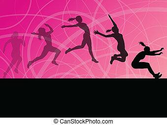 illustration, femme, triple, athlétique, voler, saut en longueur, silhouettes, vecteur, collection, fond, actif, girl, sport