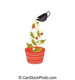 illustration., feuilles salade, verser, vecteur, bowl., baies