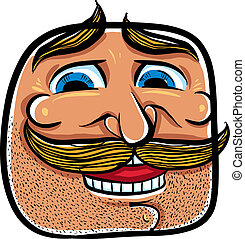 illustration., figure, vecteur, moustaches, dessin animé, heureux