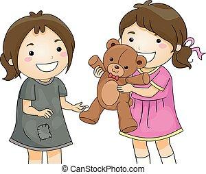 illustration, filles, jouet, gosse, part, ours, malheureux