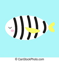 illustration, fish, blanc, zebra, vecteur, arrière-plan.