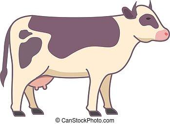 illustration, flat., vache, vecteur, animal., dessin animé