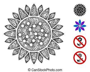 illustration, fleur, maille, toile, tournesol, vecteur