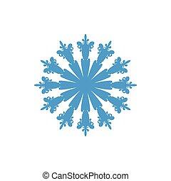 illustration, flocon de neige, bleu, arrière-plan., isolé, blanc, vecteur