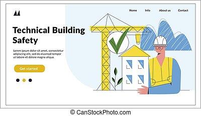 illustration, fond, bâtiment, page, ingénierie, plat, atterrissage, mockup., construction, vecteur, sécurité, dessin animé, isolé, caractère, blanc, concept., technique