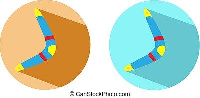 illustration, fond, isolé, boomerang, vecteur