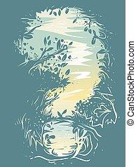 illustration, forêt, point interrogation