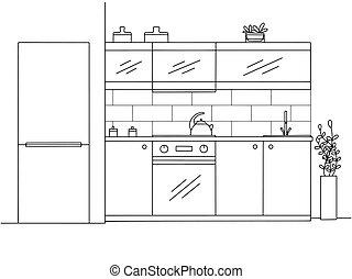 illustration, furniture., cuisine, vecteur, style, croquis